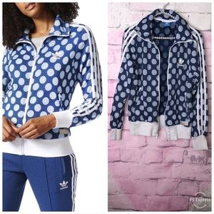 Adidas Firebird Blue Polka Dot Zip Jacket Small
